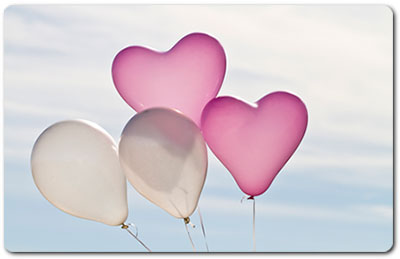 Pink and White Anniversary Balloons